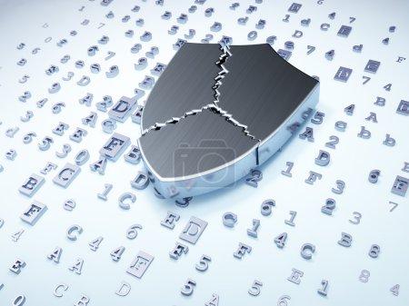 Security concept: silver broken shield on digital background