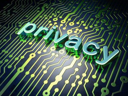 Foto de Concepto de privacidad: placa de circuito con privacidad de palabra, render 3d - Imagen libre de derechos
