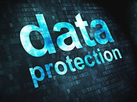 Photo pour Concept de sécurité : mots pixellisés Protection des données sur fond numérique, rendu 3d - image libre de droit