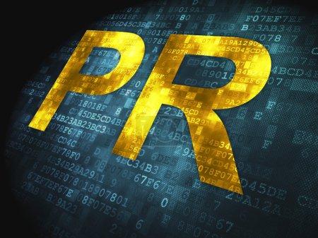 Photo pour Concept marketing : mots pixellisés PR sur fond numérique, rendu 3d - image libre de droit