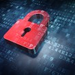 Privacy concept: Red Closed Padlock on digital bac...