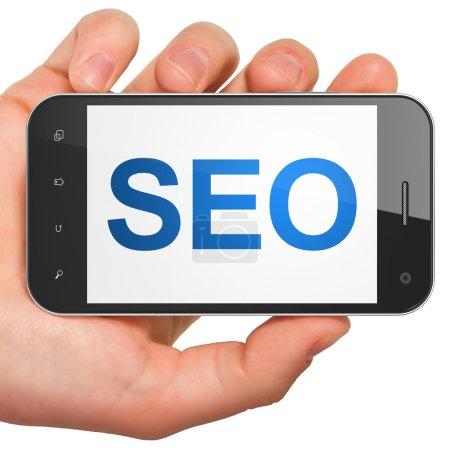 Web development SEO concept: smartphone with SEO