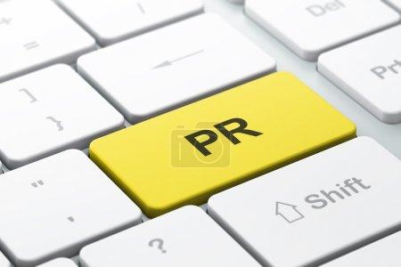 Photo pour Concept marketing : clavier d'ordinateur avec mot PR, focus sélectionné sur le bouton Entrée, rendu 3d - image libre de droit