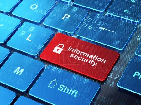 Foto de Concepto de privacidad: Teclado de ordenador con el icono de candado cerrado y seguridad de la información en la palabra botón enter, 3d - Imagen libre de derechos