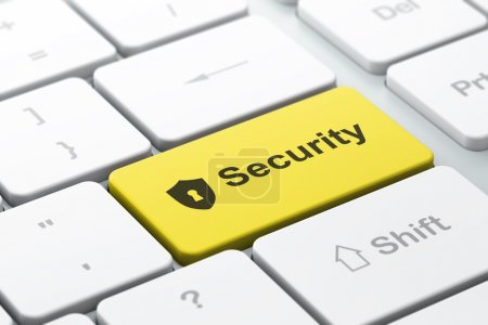 Privacy concept: computer keyboard with Shield With Keyhole and
