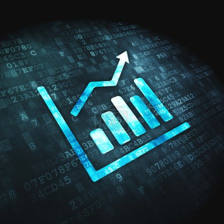 Photo for Finance concept: pixelated Growth Graph icon on digital background, 3d render - Royalty Free Image