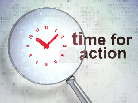 Photo for Magnifying optical glass with Clock icon and Time for Action word on digital background, 3d render - Royalty Free Image