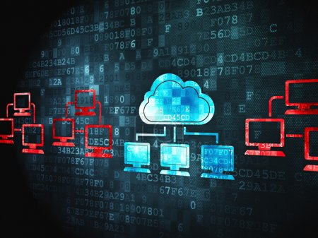 Cloud computing concept: Cloud Technology on digital background