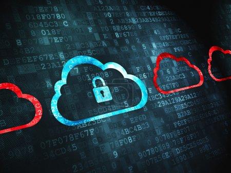 Cloud technology concept: Cloud Whis Padlock on digital backgrou