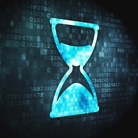 Photo pour Concept de temps : icône pixellisée sablier sur fond numérique, rendu 3d - image libre de droit