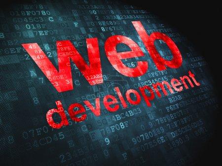 Photo pour Concept de développement pour le web SEO : pixélisé mots développement sur fond numérique, rendu 3d web - image libre de droit