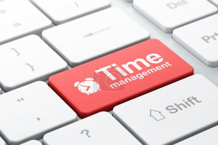 Photo for Time concept: computer keyboard with Alarm Clock icon and word Time Management, selected focus on enter button, 3d render - Royalty Free Image