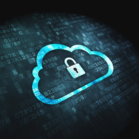 Photo for Networking concept: pixelated Cloud Whis Padlock icon on digital background, 3d render - Royalty Free Image
