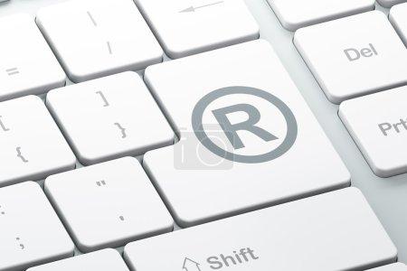 Photo pour Concept de loi : Entrer bouton avec Enregistré sur fond de clavier d'ordinateur, rendu 3d - image libre de droit