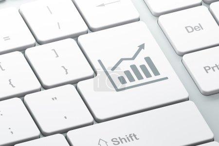 Photo pour Concept marketing : Entrez le bouton avec le graphique de croissance sur le fond du clavier de l'ordinateur, rendu 3d - image libre de droit