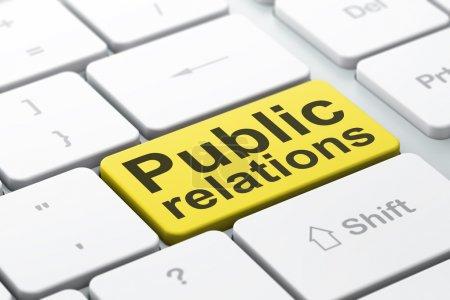 Photo pour Concept marketing : clavier d'ordinateur avec mot Relations publiques, focus sélectionné sur le fond du bouton Entrée, rendu 3d - image libre de droit