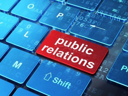 Marketingkonzept: Öffentlichkeitsarbeit auf der Computertastatur