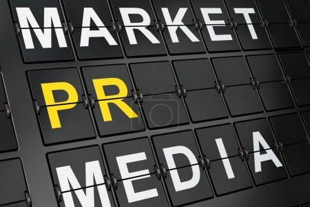Photo pour Concept marketing : PR sur fond de tableau de bord de l'aéroport, rendu 3D - image libre de droit
