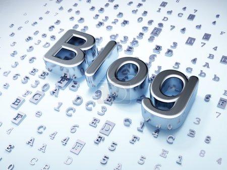 Photo for SEO web design concept: Silver Blog on digital background, 3d render - Royalty Free Image