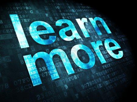 Photo pour Le concept de l'éducation : pixélisé mots en savoir plus sur digital fond, rendu 3d - image libre de droit