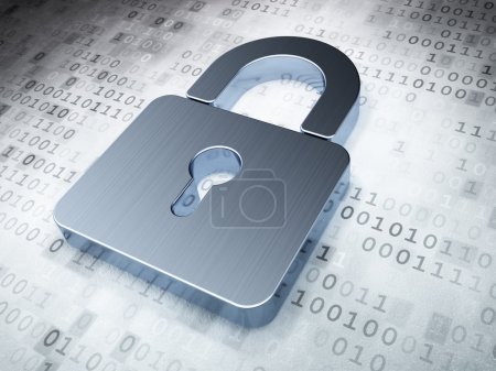Security concept: Silver Closed Padlock on digital background