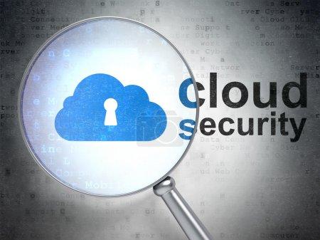 Photo pour Loupe optique avec cloud avec icône et nuage mot de sécurité serrure sur fond numérique, rendu 3d - image libre de droit