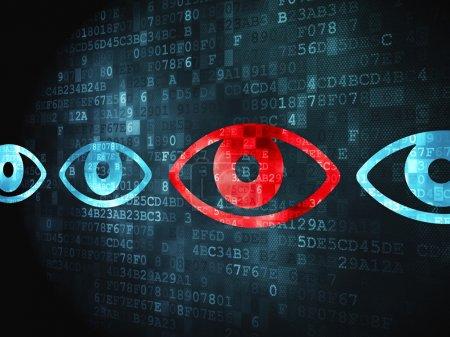"""Photo pour Concept de sécurité : icône """"oeil"""" pixélisé sur fond numérique, rendu 3d - image libre de droit"""