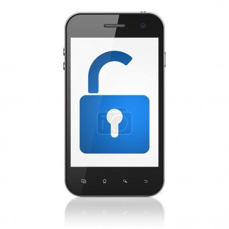 Data concept: Opened Padlock on smartphone