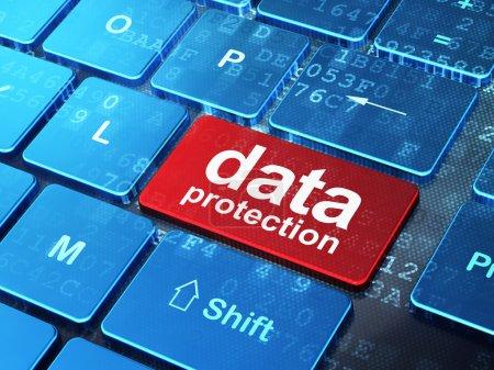 Photo pour Concept de confidentialité : clavier d'ordinateur avec mot Protection des données sur le fond du bouton Entrée, rendu 3d - image libre de droit