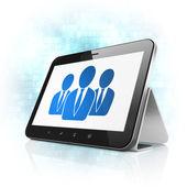 Novinky koncept: podnikatelé v počítači tablet pc