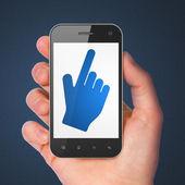 Koncepce rozvoje webu: kurzor myši na smartphone