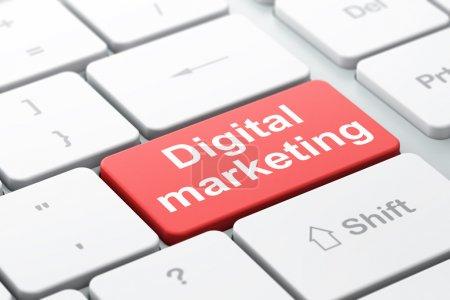 Advertising concept: Digital Marketing on computer keyboard
