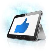 Koncept sociální média: jako na počítači tablet pc