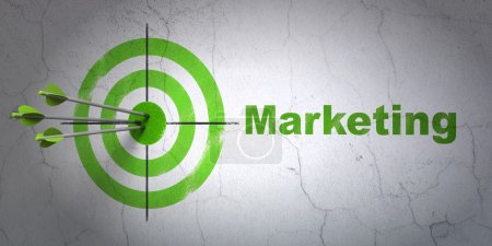 Photo for Success marketing concept: arrows hitting the center of target, Green Marketing on wall background, 3d render - Royalty Free Image