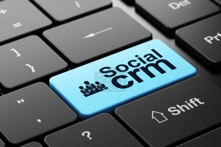 Finance concept: Business Team and Social CRM on computer keyboard background