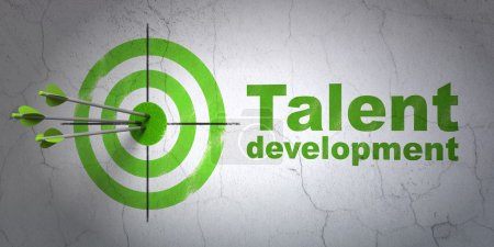 Photo for Success Education concept: arrows hitting the center of target, Green Talent Development on wall background, 3d render - Royalty Free Image