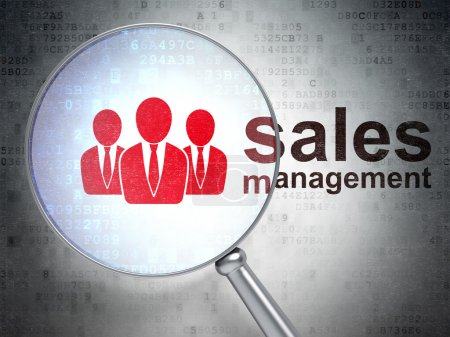Marketing concept: Business People and Sales Management with optical glass