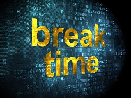 Photo pour Concept de ligne de temps : mots pixellisés Temps de pause sur fond numérique, rendu 3d - image libre de droit