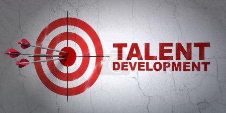 Photo for Success Education concept: arrows hitting the center of target, Red Talent Development on wall background, 3d render - Royalty Free Image