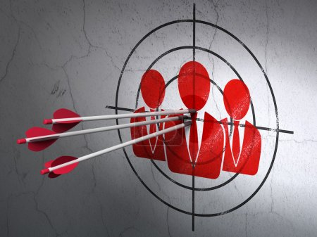 Business concept: arrows in Business People target on wall background
