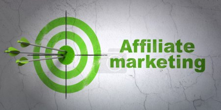 Finance concept: target and Affiliate Marketing on wall background