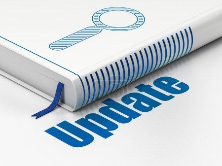 Photo pour Concept de développement Web : livre fermé bleu recherche icône et texte mise à jour sur le plancher, fond blanc, rendu 3d - image libre de droit