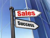 Reklamní koncept: podepsat prodejní úspěch na budování pozadí