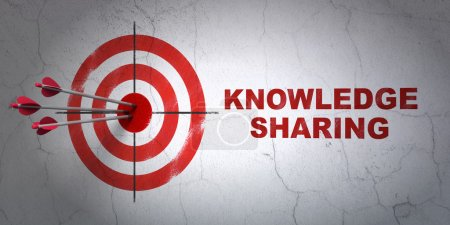 Education concept: target and Knowledge Sharing on wall background