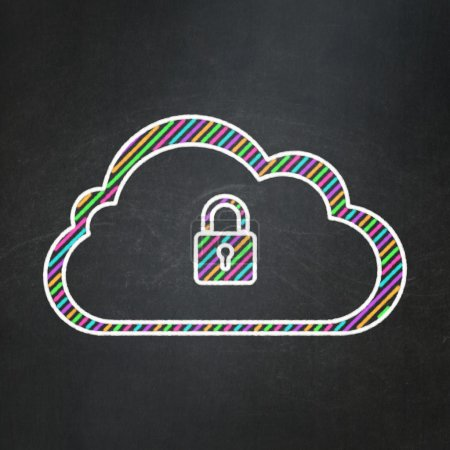 Cloud computing concept: Cloud With Padlock on chalkboard background