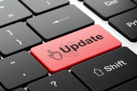 Photo pour Concept de développement Web : clavier de l'ordinateur avec l'icône du curseur souris et mise à jour de word, AF sélectionné sur enter bouton, rendu 3d - image libre de droit