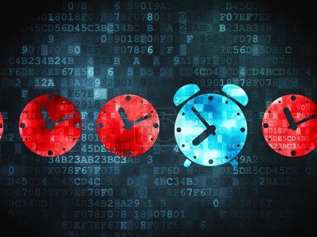 Photo pour Concept de chronologie : icône pixellisée de réveil sur fond numérique, rendu 3d - image libre de droit