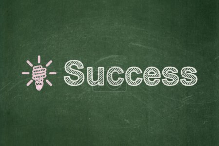 Business concept: Energy Saving Lamp and Success on chalkboard background