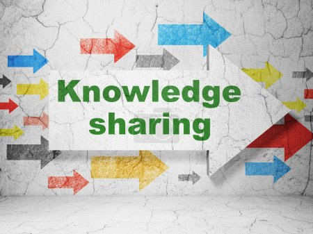 Education concept: arrow with Knowledge Sharing on grunge wall background