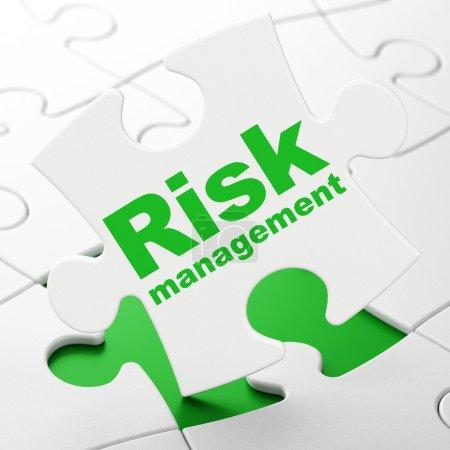 Finance concept: Risk Management on puzzle background